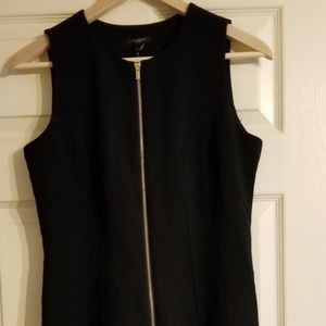 ANN TAYLOR Black Sz 6P Summer Dress Gold Front Zip